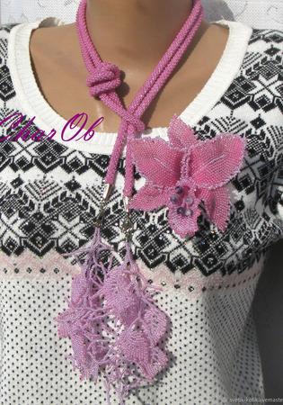 """Лариат с брошью """"Орхидея"""" ручной работы на заказ"""