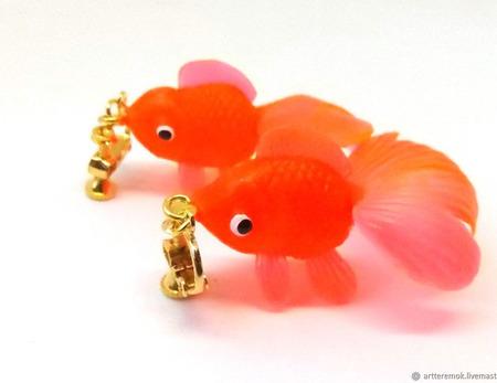 """Серьги-клипсы """"Золотые рыбки"""" ручной работы на заказ"""