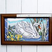 "Картина ""За минуту до рассвета"" с лебедем и пожеланием"