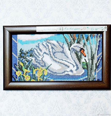 """Картина """"За минуту до рассвета"""" с лебедем и пожеланием ручной работы на заказ"""