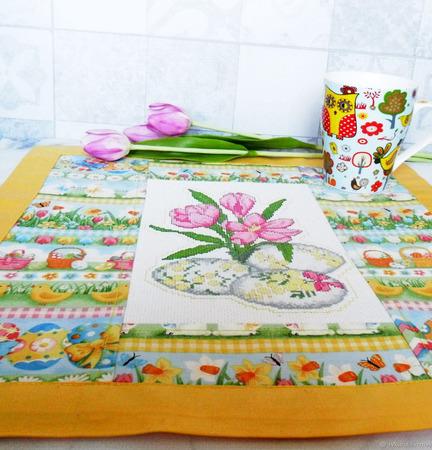 """Салфетка к Пасхе """"Весенние цветы"""" ручной работы на заказ"""