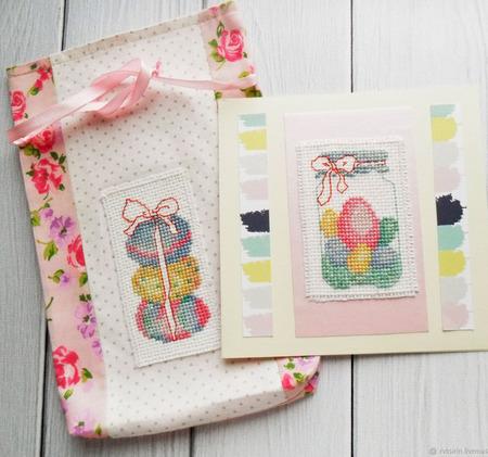 Пасхальный набор - открытка и мешочек с вышивкой ручной работы на заказ
