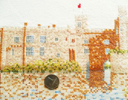 """Декоративная наволочка """"Замок на реке"""" с ручной вышивкой крестом ручной работы на заказ"""