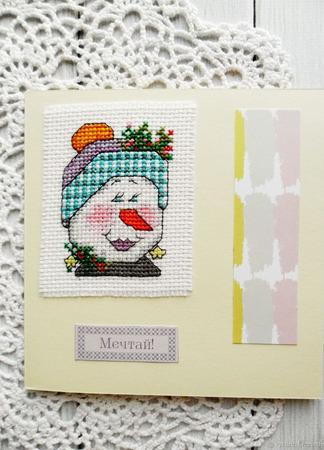 """Открытки """"Нежные снежные"""" с ручной вышивкой крестом ручной работы на заказ"""
