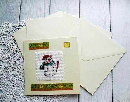 """Открытки """"Снеговики"""" с ручной вышивкой крестом ручной работы на заказ"""