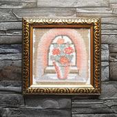 """Вышитая крестом картина """"Цветы у окна"""""""