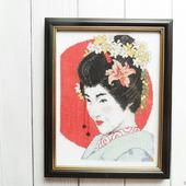 """Картина """"Японка"""" с ручной вышивкой крестом"""