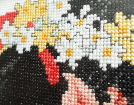 """Картина """"Японка"""" с ручной вышивкой крестом ручной работы на заказ"""