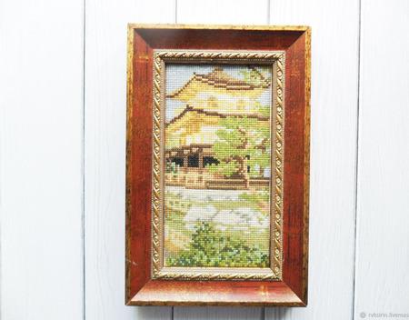 """Картина вышитая крестом """"Пагода"""" ручной работы на заказ"""