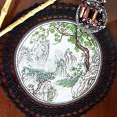 """Салфетка """"Японский пейзаж"""" с ручной вышивкой крестом и кружевом"""