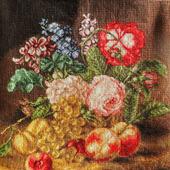 """Картина """"Цветы и фрукты"""" с ручной вышивкой крестом"""