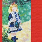 """Картина """"Девочка с лейкой"""" - вышитая крестом репродукция Ренуара"""