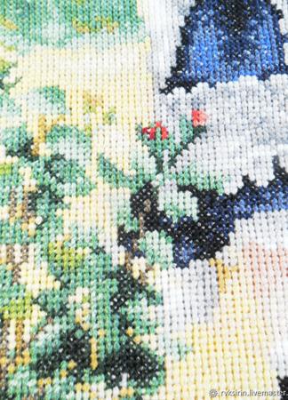 """Картина """"Девочка с лейкой"""" - вышитая крестом репродукция Ренуара ручной работы на заказ"""