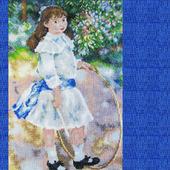 """Картина """"Девочка с обручем"""", вышитая крестом репродукция Ренуара"""