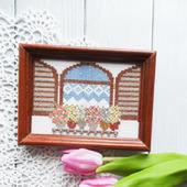 """Вышитая крестом картина """"Окно со ставнями и цветами"""""""