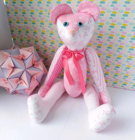 Розовый мишка ручной работы на заказ