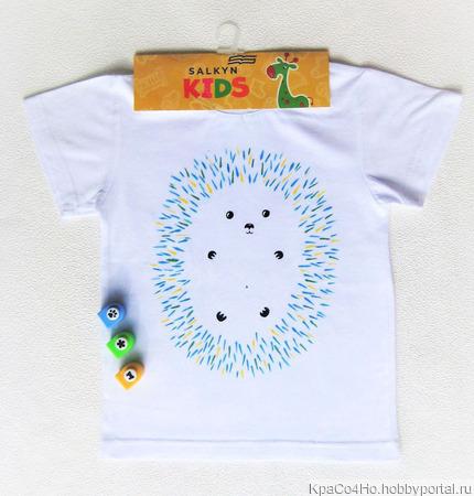"""Прикольная футболка с рисунком """"Ёжик"""" ручной работы на заказ"""