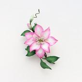 """Брошь цветок розовый изящный нарядный из фоамирана """"Клематис"""""""