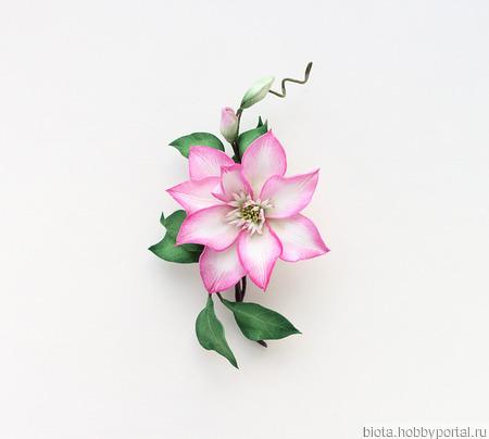 """Брошь цветок розовый изящный нарядный из фоамирана """"Клематис"""" ручной работы на заказ"""
