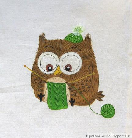 """Текстильный купон для декорирования """"Совушка- вязальщица"""" ручной работы на заказ"""