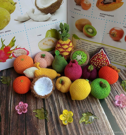 Развивающий набор: фрукты, овощи и ягоды (53 игрушки + карточки Домана) ручной работы на заказ