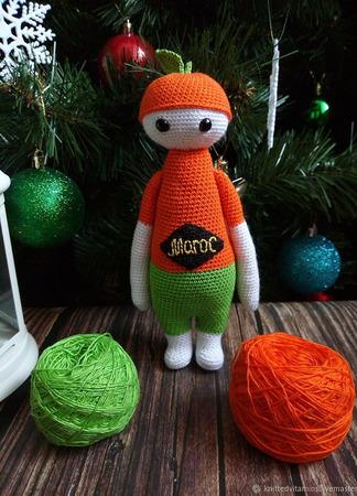 Авторская вязаная игрушка - кукла Мандаринчик ручной работы на заказ
