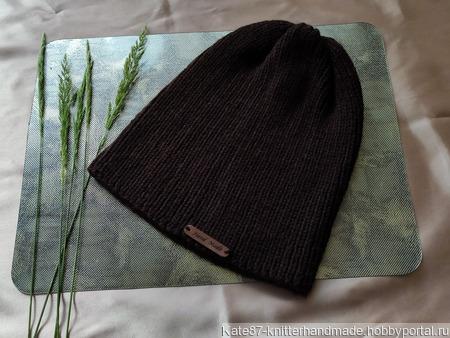Шоколадная вязаная шапочка-тыковка унисекс ручной работы на заказ