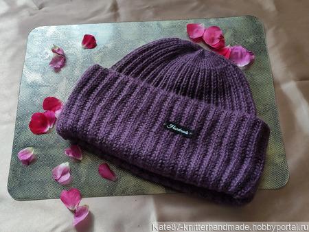 Объёмная вязаная шапка с двумя отворотами ручной работы на заказ