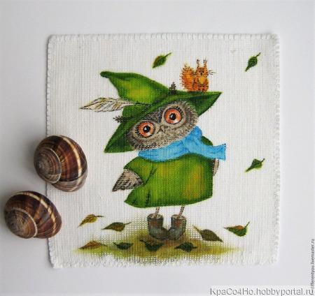 """Текстильный купон для декорирования """"Совушка"""" ручной работы на заказ"""