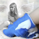 "Носки вязаные спицами, шерстяные ""Ангел с крылышками"""