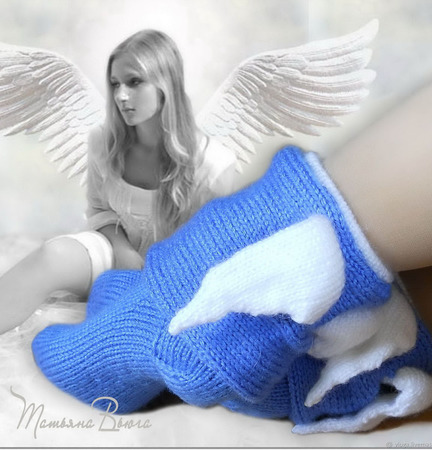 "Носки вязаные спицами, шерстяные ""Ангел с крылышками"" ручной работы на заказ"