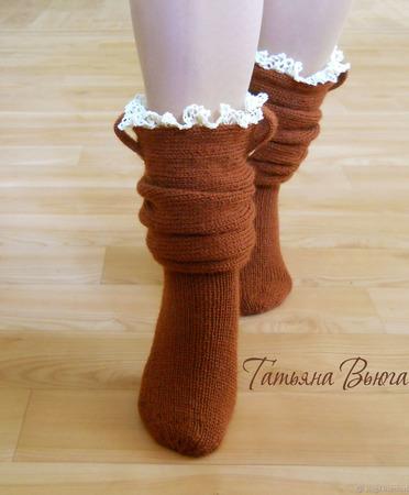"""Носки вязаные спицами, шерстяные """"Андерсен"""" ручной работы на заказ"""