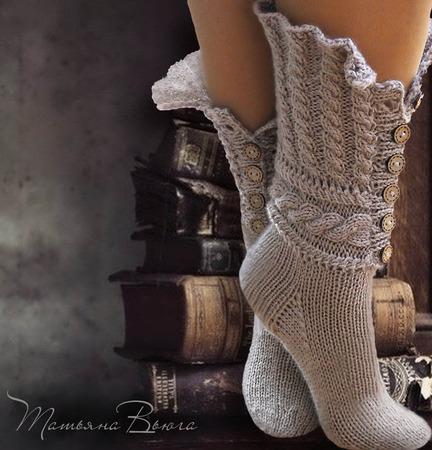 """Носки вязаные, шерстяные """"Сказание"""" ручной работы на заказ"""