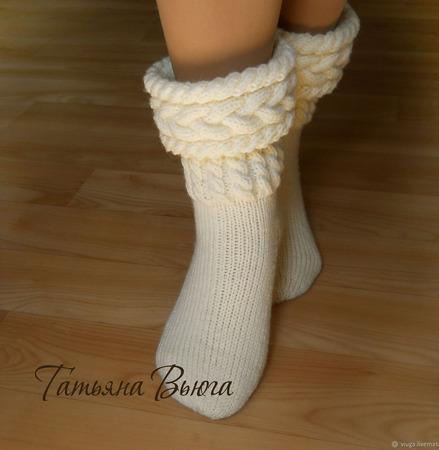 """Носки вязаные, шерстяные """"Хельга"""" ручной работы на заказ"""