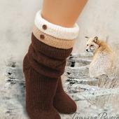 """Носки вязаные спицами, носки шерстяные """"Что шепчет ветер"""""""