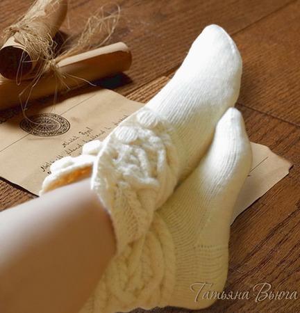 """Носки вязаные, шерстяные """"В старом замке"""" ручной работы на заказ"""