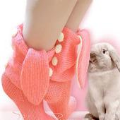 """Носки вязаные, шерстяные """"Розовый заяц"""""""