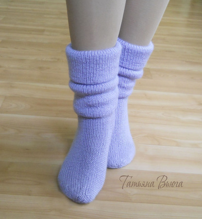 "Носки вязаные спицами, шерстяные ""Алиса"" ручной работы на заказ"