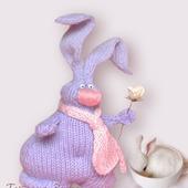 Игрушка авторская, интерьерная, вязаная спицами - Влюбленный Кролик