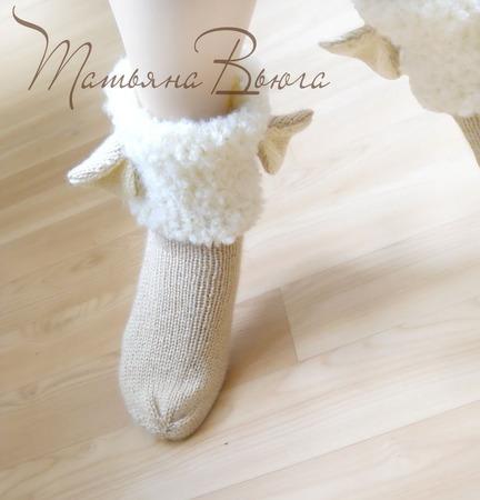 """Носки вязаные, шерстяные """"Овечки"""" ручной работы на заказ"""