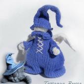 Ангел в синем. Игрушка интерьерная, авторская, вязаная спицами