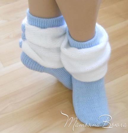 Белый танец. Носки вязаные, шерстяные ручной работы на заказ