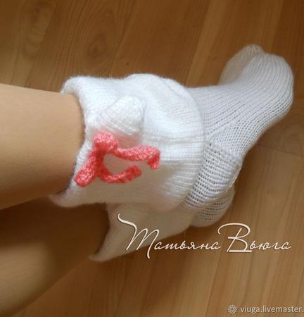 """Носки вязаные, шерстяные """"Котейко"""" ручной работы на заказ"""