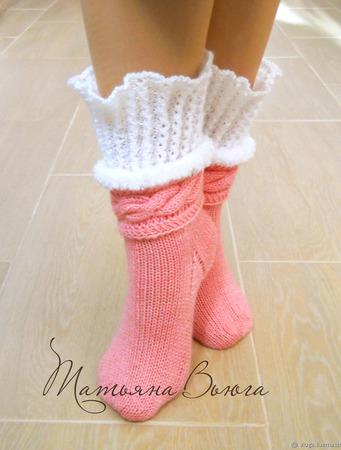 """Носки вязаные спицами, шерстяные носки """"Адель"""" ручной работы на заказ"""