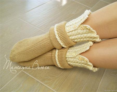 """Носки вязаные, шерстяные """"Килиманджаро"""" ручной работы на заказ"""