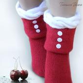 Зимняя вишня. Носки вязаные, шерстяные