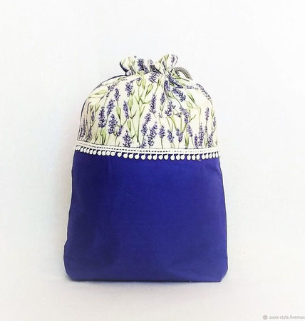 """Проектная сумка, клубочница для пряжи и вязания """"Лаванда"""" ручной работы на заказ"""