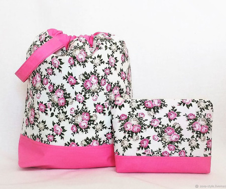 """Проектная сумка и органайзер для рукоделия """"Яблони в цвету"""" ручной работы на заказ"""
