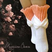 Цветение сакуры. Носки вязаные, шерстяные
