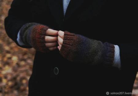 """Митенки """"Осенний лес"""" ручной работы на заказ"""